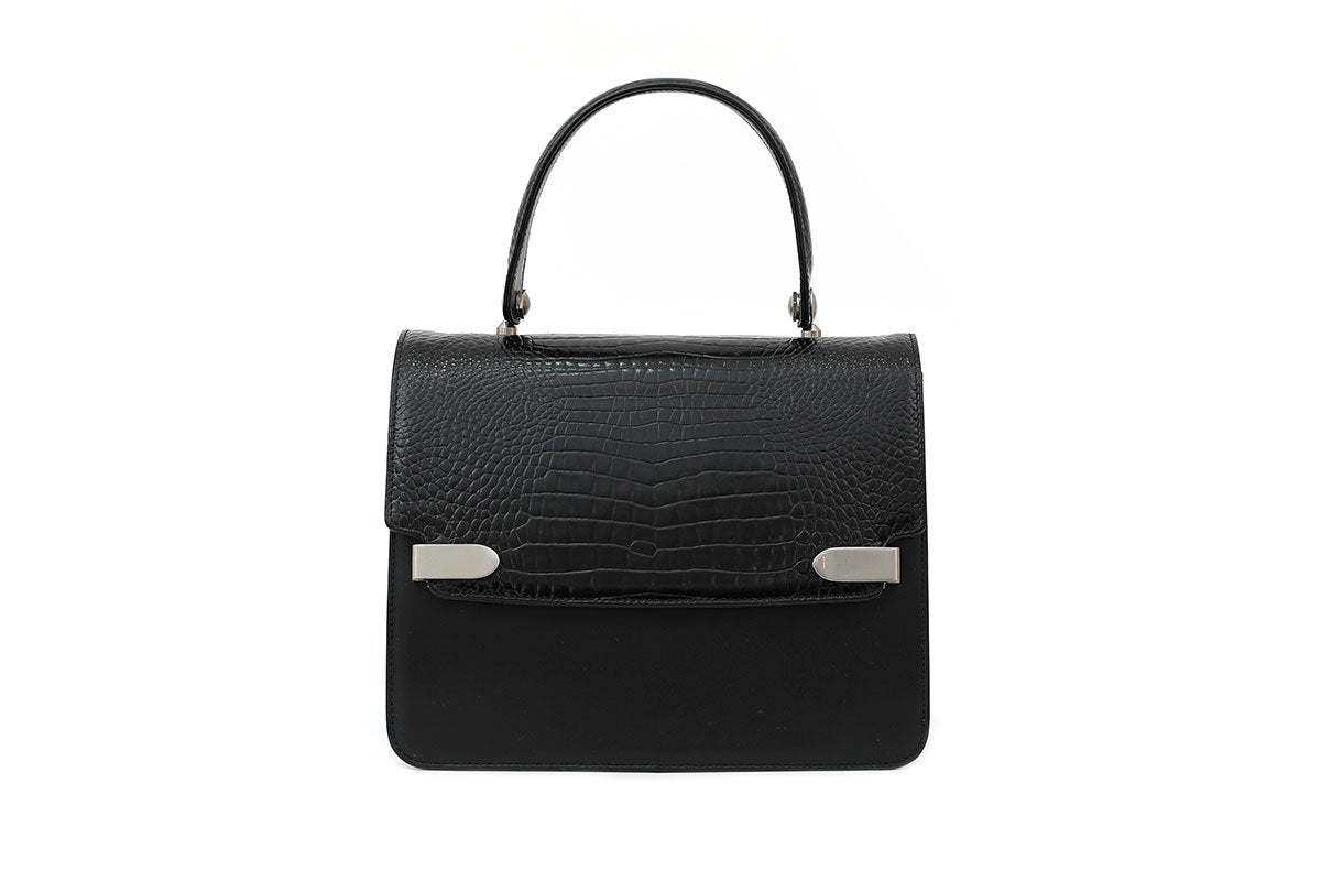 Delma Black Croc-Embossed Leather Bag - gu_de