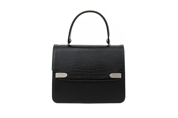 Delma Black Croc-Embossed Leather Bag