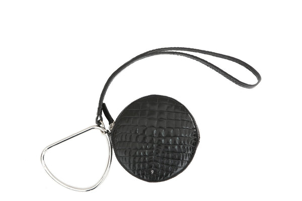 Circle Black Croc-Embossed Leather Bag - gu_de