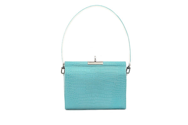 Gemma Blue Croc Embossed Leather Bag