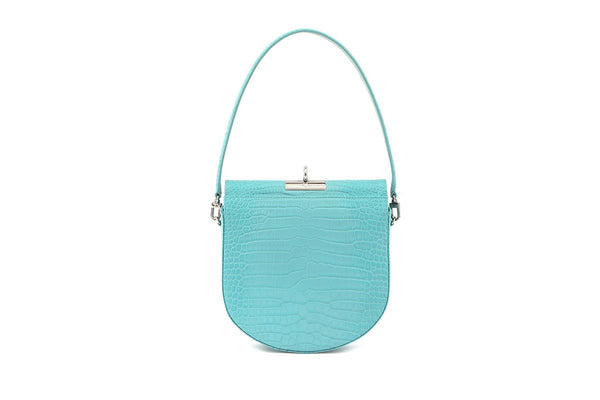 Demilune Blue Croc-Embossed Leather Bag - gu_de