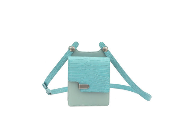 Louise Blue Croc-Embossed Cross Body Leather Bag