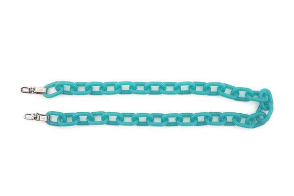 Blue Candy Chain Strap with Silver Tone Metal