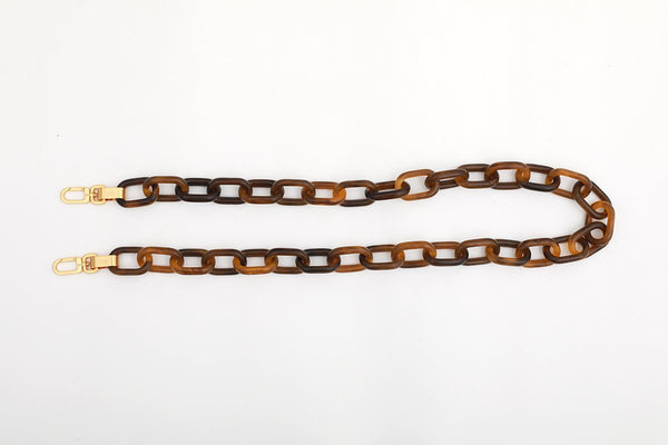 Beige Candy Chain Strap with 24K Satin Gold Tone Metal - gu_de