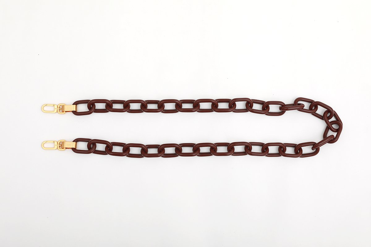 Bordeaux Candy Chain Strap with 24K Satin Gold Tone Metal - gu_de