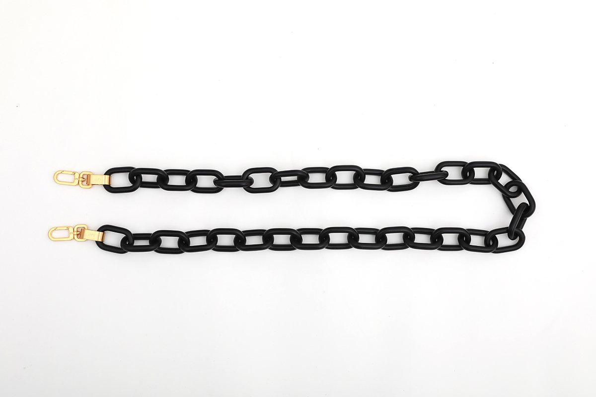 Charcoal Candy Chain Strap with 24K Satin Gold Tone Metal - gu_de