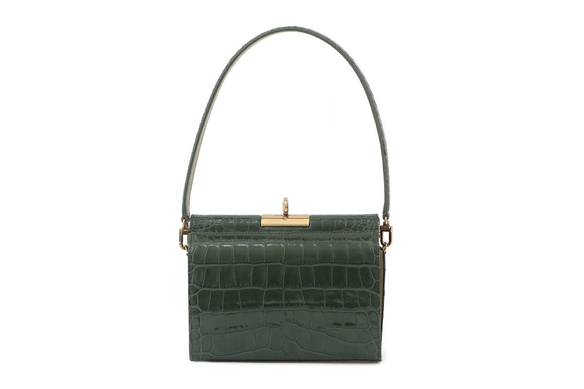 Gemma D-Green Croc Embossed Leather Bag - gu_de
