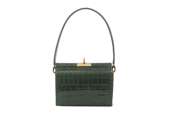 Gemma D-Green Croc Embossed Leather Bag