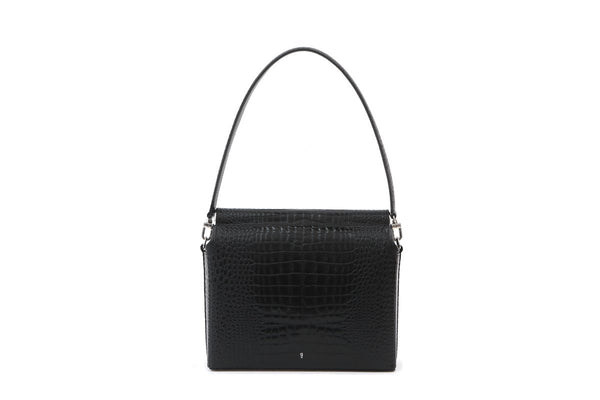 Duet Black Croc-Embossed Leather Bag