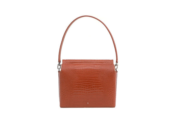 Duet Brick Croc-Embossed Leather Bag