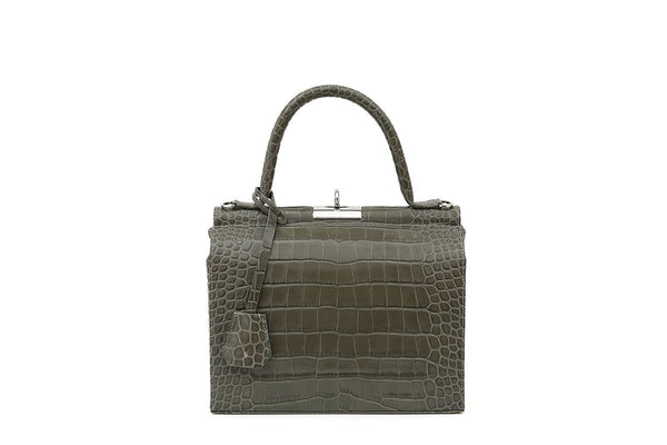 Edge Olive Croc-Embossed Leather Bag - EXCLUSIVE