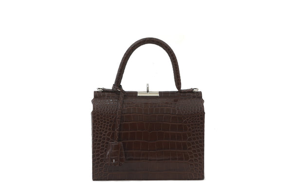 Edge Brown Croc-Embossed Leather Bag - Webshop Exclusive - gu_de