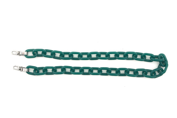 Green Candy Chain Strap with Silver Tone Metal - gu_de