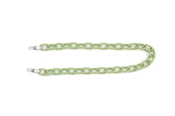 L-Green Candy Chain Strap with Silver Tone Metal
