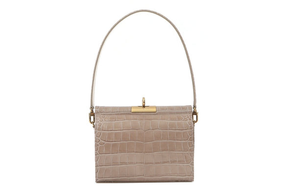 Gemma L-Beige Croc Embossed Leather Bag