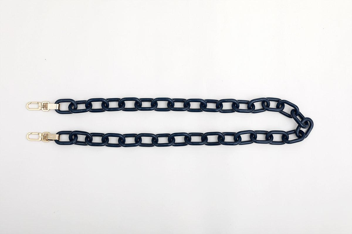 Navy Candy Chain Strap with 14K Gold Tone Metal