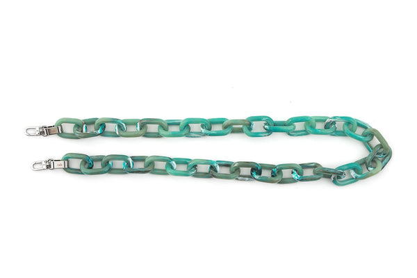 Ocean Blue Candy Chain Strap with Silver Tone Metal - gu_de