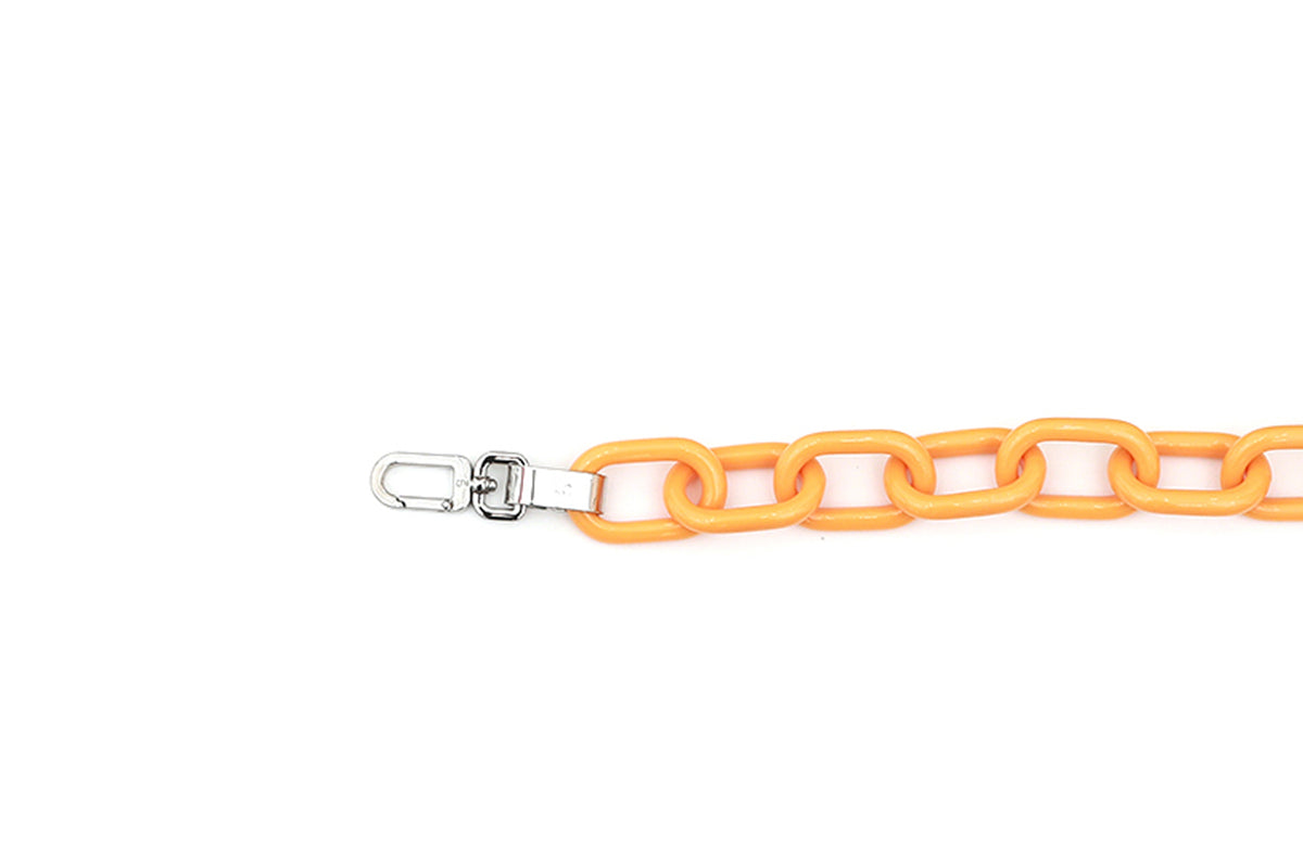Orange Candy Chain Strap with Silver Tone Metal