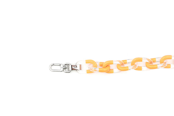 Orange Two-Tone Candy Chain Strap with Silver Tone Metal