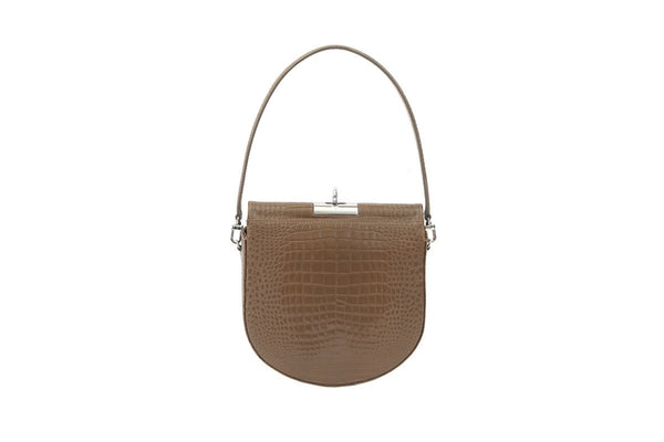 Demilune Peanut Croc-Embossed Leather Bag - gu_de