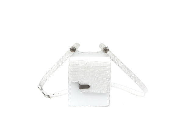 Louise White Croc-Embossed Cross Body Leather Bag