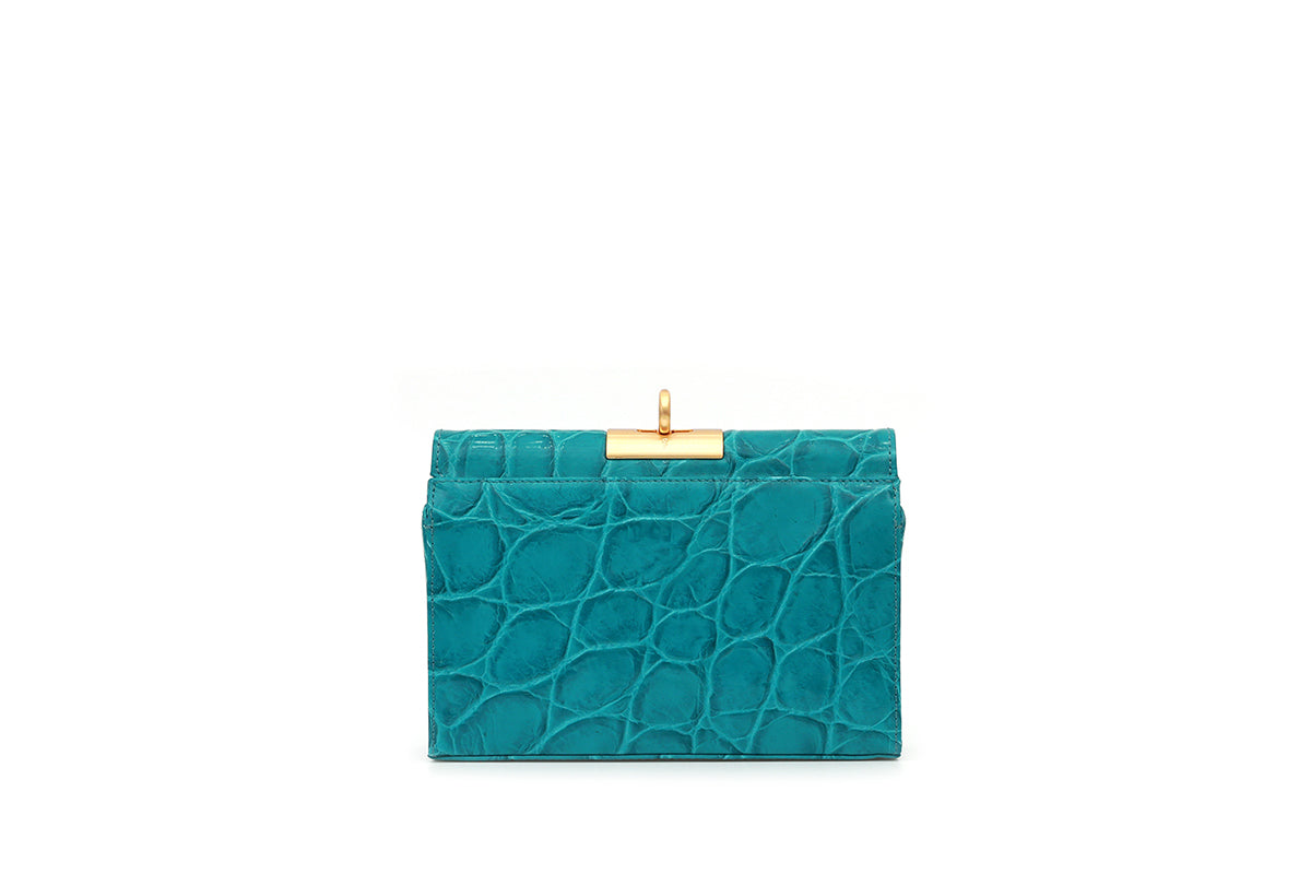 Luxy Aqua Croc-Embossed Leather Bag with 24K Satin Gold Hardware