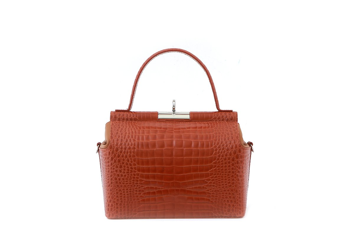 Chord Brick Croc-Embossed Leather Bag