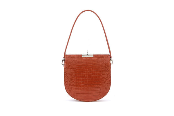 Demilune S-Brick Croc-Embossed Leather Bag - gu_de