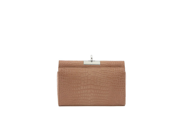 Luxy Beige Croc-Embossed Leather Bag