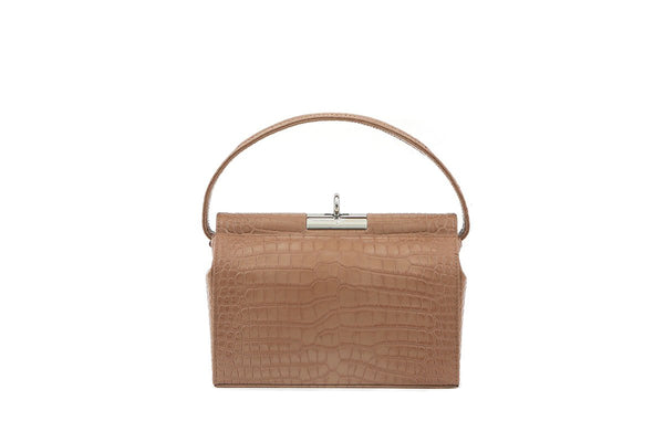 Milky Beige Croc-Embossed Leather Bag - gu_de