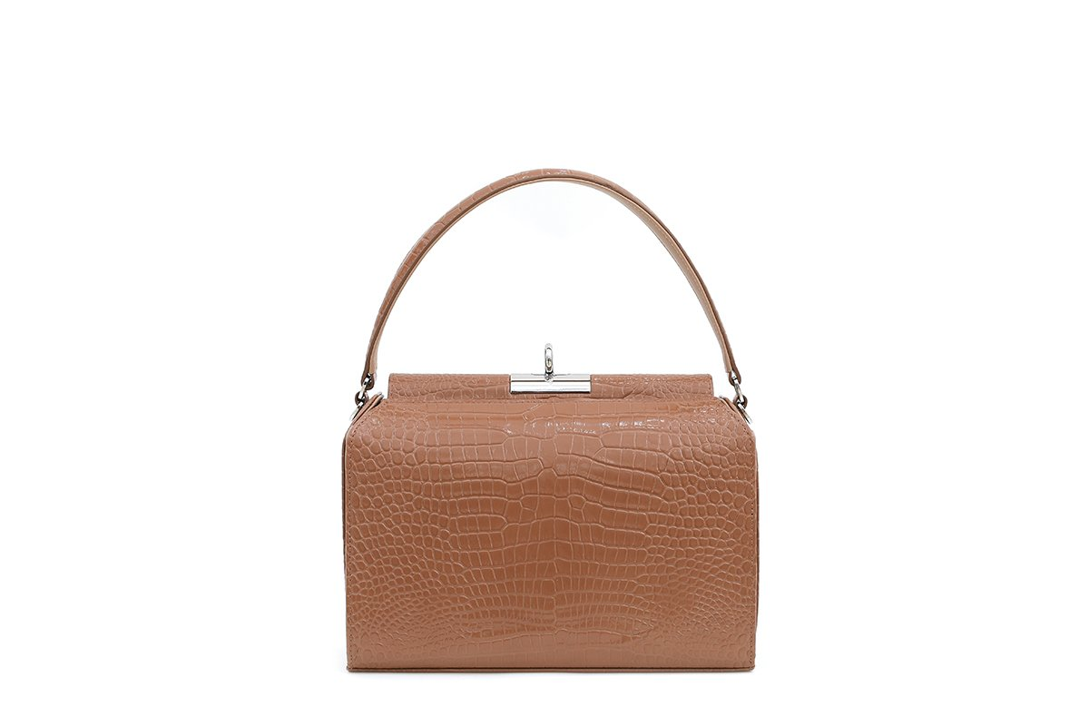 Tully Beige Croc-Embossed Leather Bag - gu_de