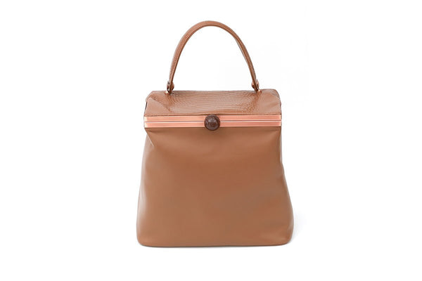 Dolly Beige Croc-Embossed Leather Bag