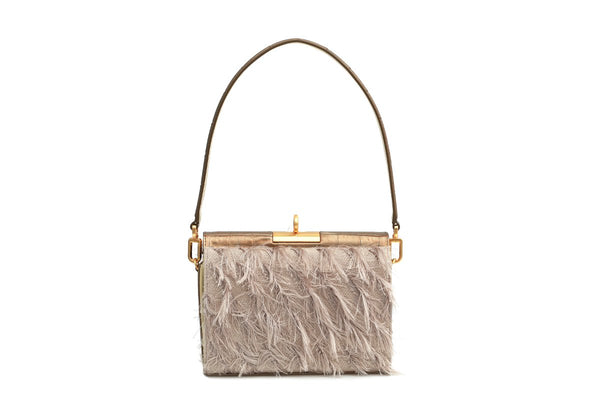 Gemma Beige Feather Bag with 24K Satin Gold Hardware