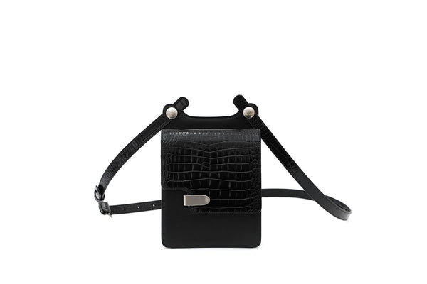 Louise Black Croc-Embossed Cross Body Leather Bag - Webshop Exclusive