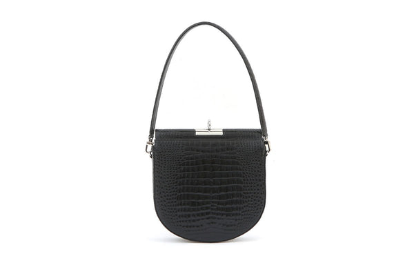 Demilune Black Croc-Embossed Leather Bag - gu_de
