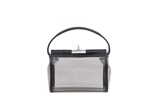 Water Black Croc-Embossed Leather Trimmed PVC Bag - gu_de