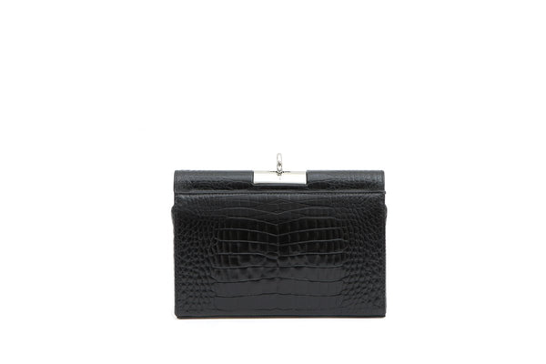 Luxy Black Croc-Embossed Leather Bag