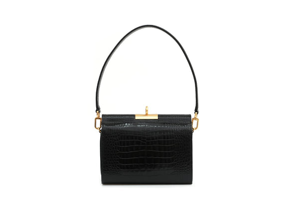 Gemma Black Croc Embossed Leather Bag with 24K Satin Gold Hardware