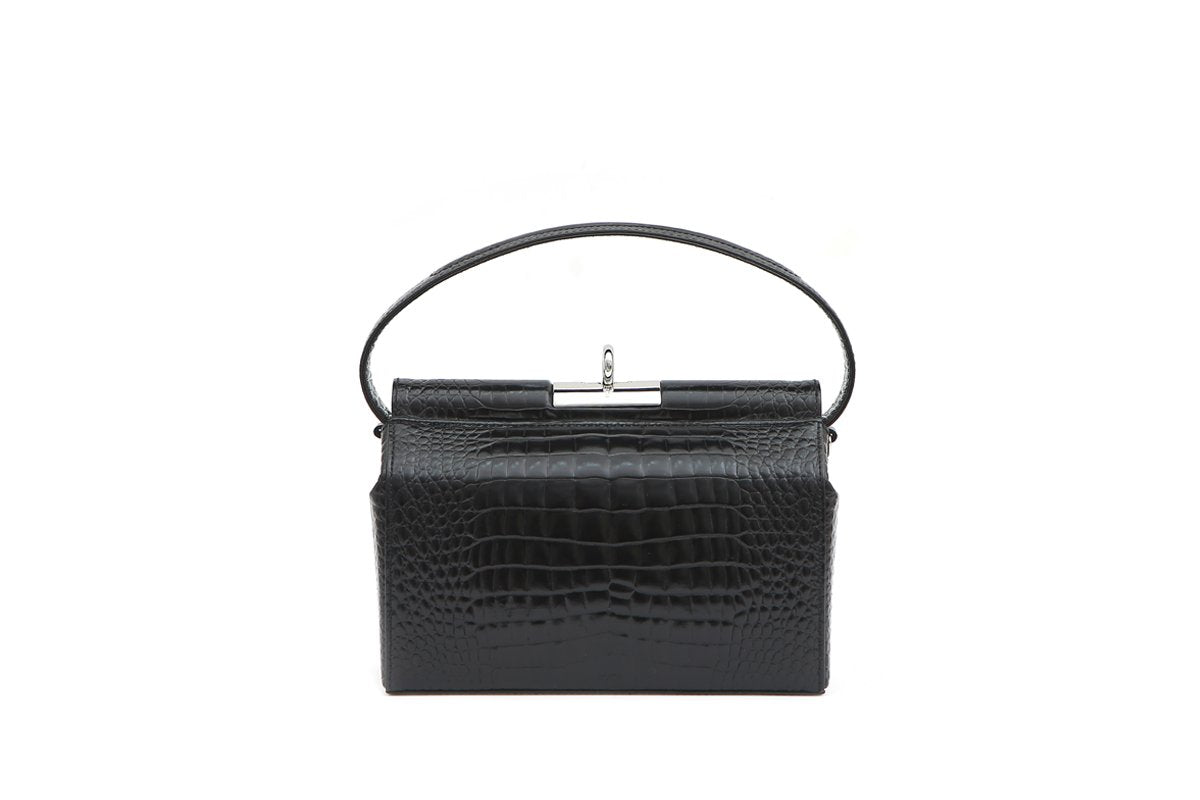 Milky Black Croc-Embossed Leather Bag