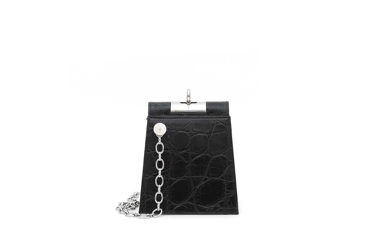 Emma New Black Leather Bag with Silver Tone Hardware