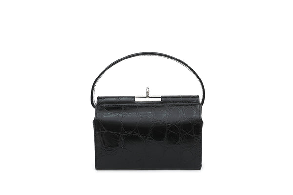 Milky New Black Croc-Embossed Leather Bag