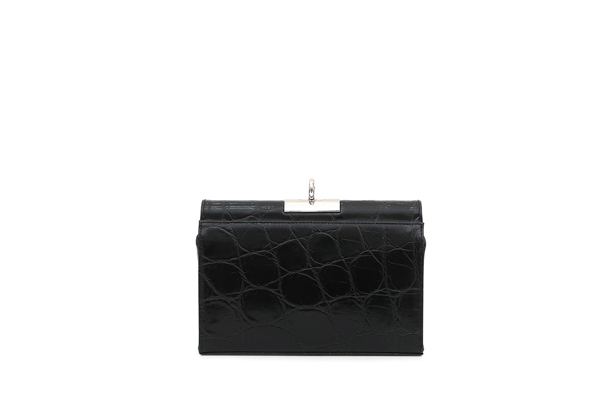 Luxy New Black Croc-Embossed Leather Bag with Silver Tone Hardware