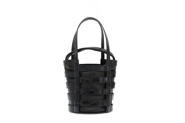 Nettie Black Croc-Embossed Leather Bag