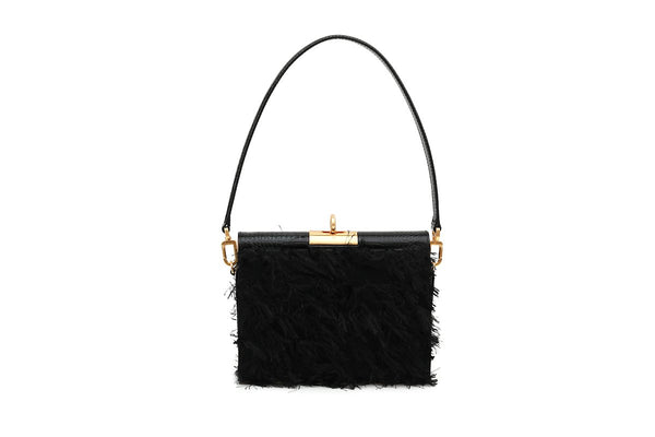 Gemma Black Feather Bag with 24K Satin Gold Hardware