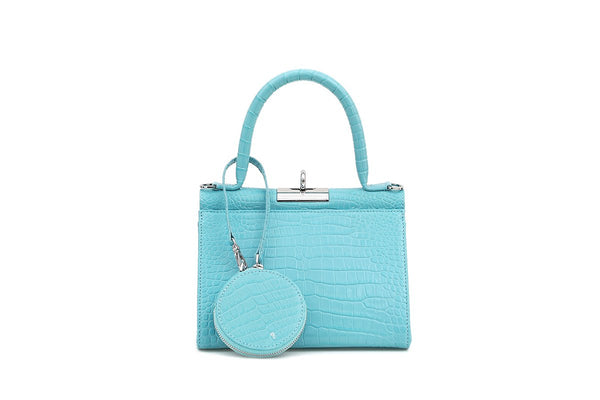 Play Blue Croc-Embossed Leather Bag