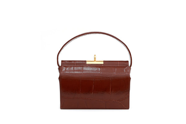 Milky Bordeaux Croc-Embossed Leather Bag