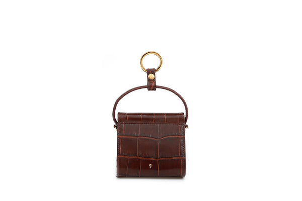 Mini Play Bordeaux Croc-Embossed Leather Bag
