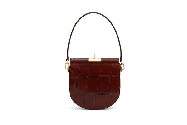 Demilune Bordeaux Croc-Embossed Leather Bag - gu_de