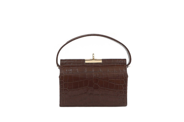 Milky Brown Croc-Embossed Leather Bag - gu_de