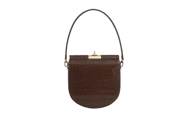 Demilune Brown Croc-Embossed Leather Bag - gu_de